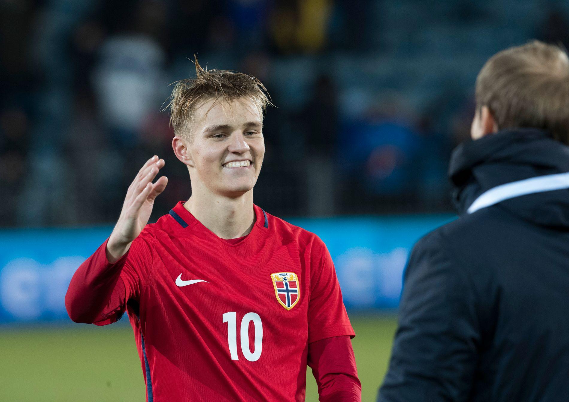 GOD KVELD: Martin Ødegaard hadde tirsdag en fin kveld på sin gamle hjemmearena i Drammen. Han scoret og sto for assist i 3-1-seieren mot Tyskland.
