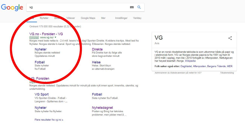 LURERI: Dette treffet, altså annonsen som kommer opp over det generiske søket i Google, har lørdag gått til en svindelside.