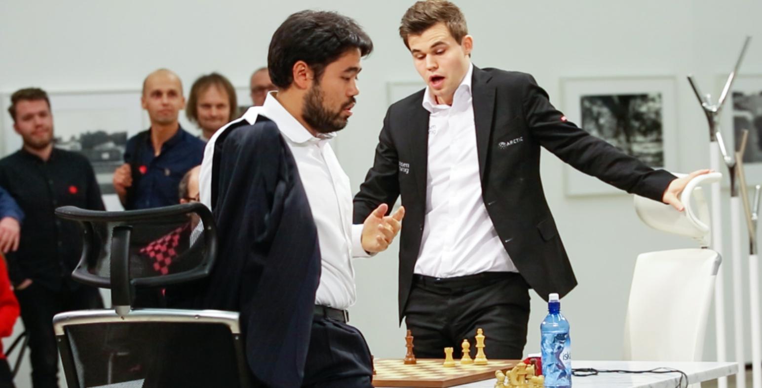 TITTELMATCH: Magnus Carlsen og Hikaru Nakamura har i fem dager spilt om hvem som er verdens beste i den spesielle sjakkvarianten Fischer Random. Matchen har foregått på Henie Onstad Kunstsenter på Høvikodden.