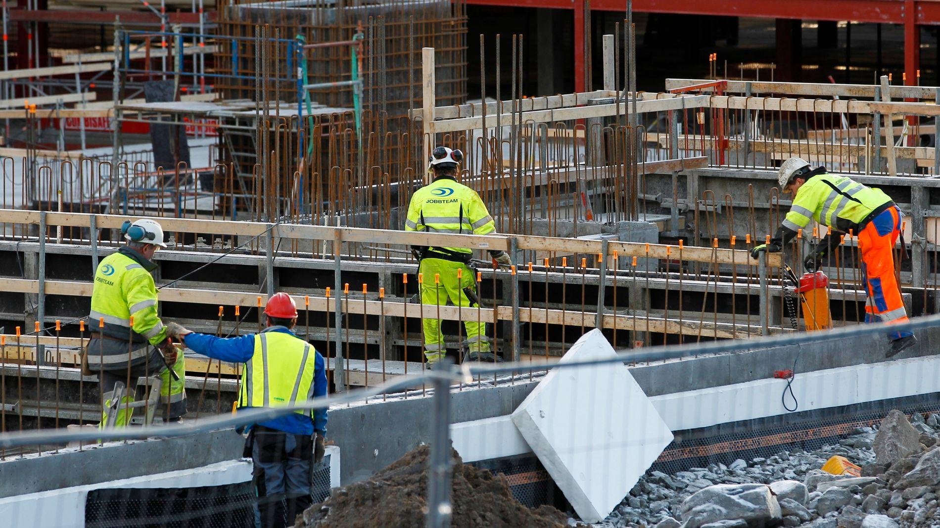 I ARBEID: Bildet viser en byggeplass i Nydalen i Oslo.