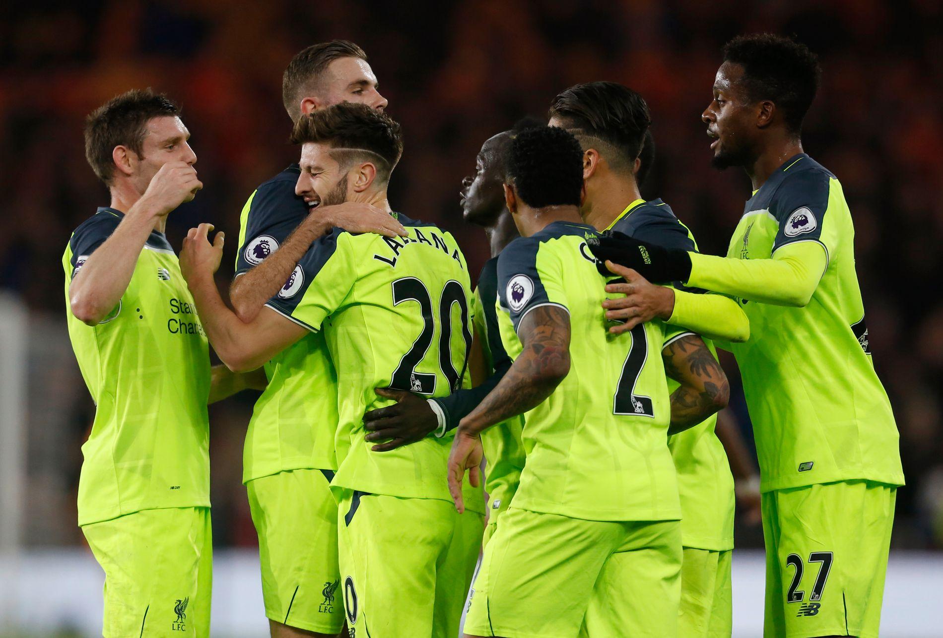 VIKTIG MANN: To scoringer og en målgivende på Adam Lallana mot Middlesbrough, og Liverpool er tilbake på vinnersporet. Her jubles det over 0-1-scoringen på Riverside.