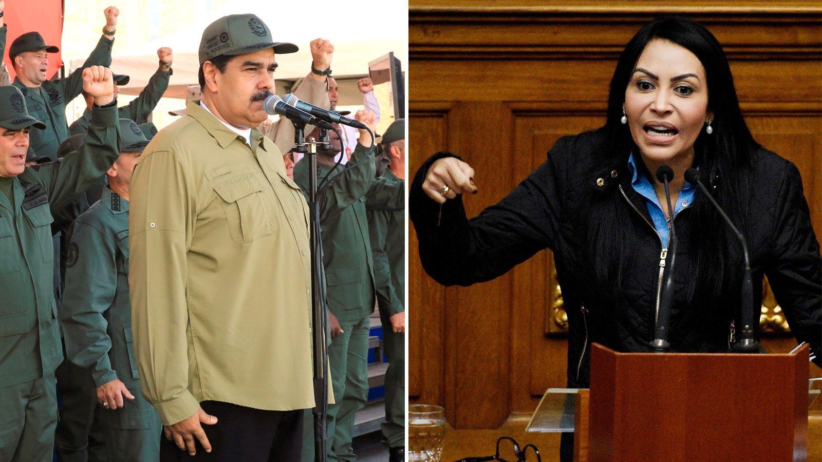 NY PERIODE: Nicolás Maduro (t .v) tar fatt på en ny presidentperiode i kriserammede Venezuela fra 2019 til 2025, fra og med torsdag. Valget ble ikke anerkjent av store deler av verdenssamfunnet, og nå ber opposisjonspolitikeren Delsa Solorzano, via VG, om hjelp fra verden.