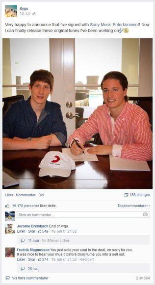 PLATEKONTRAKT: Kyrre Gørvell-Dahll signerte i helgen kontrakt med plateselskapet Sony Music. Nå er flere fans bekymret for Kygos framtid, og de lar ham få vite det gjennom sosiale medier.