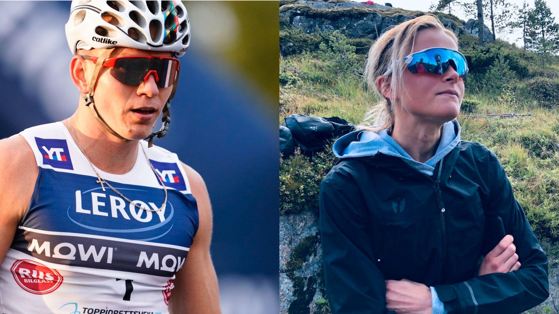 Aleksandr Bolsjunov til venstre og Frida Karlsson til høyre falt under fredagens renn i Toppidrettsveka.