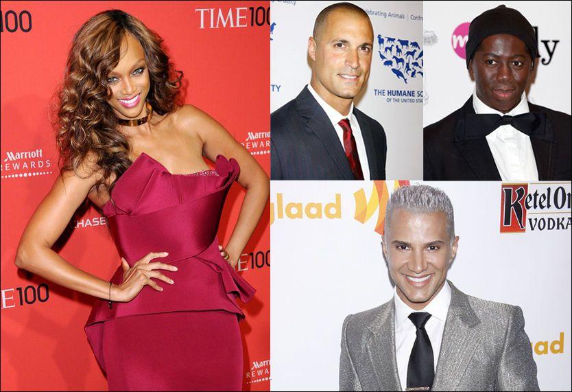 SPARKET VENNENE: Tyra Banks følte at både Nigel Barker, J. Alexander og Jay Manuel (nederst) måtte ut av programmet for å fornye det hele. Foto: Pa Photos / Wenn.com