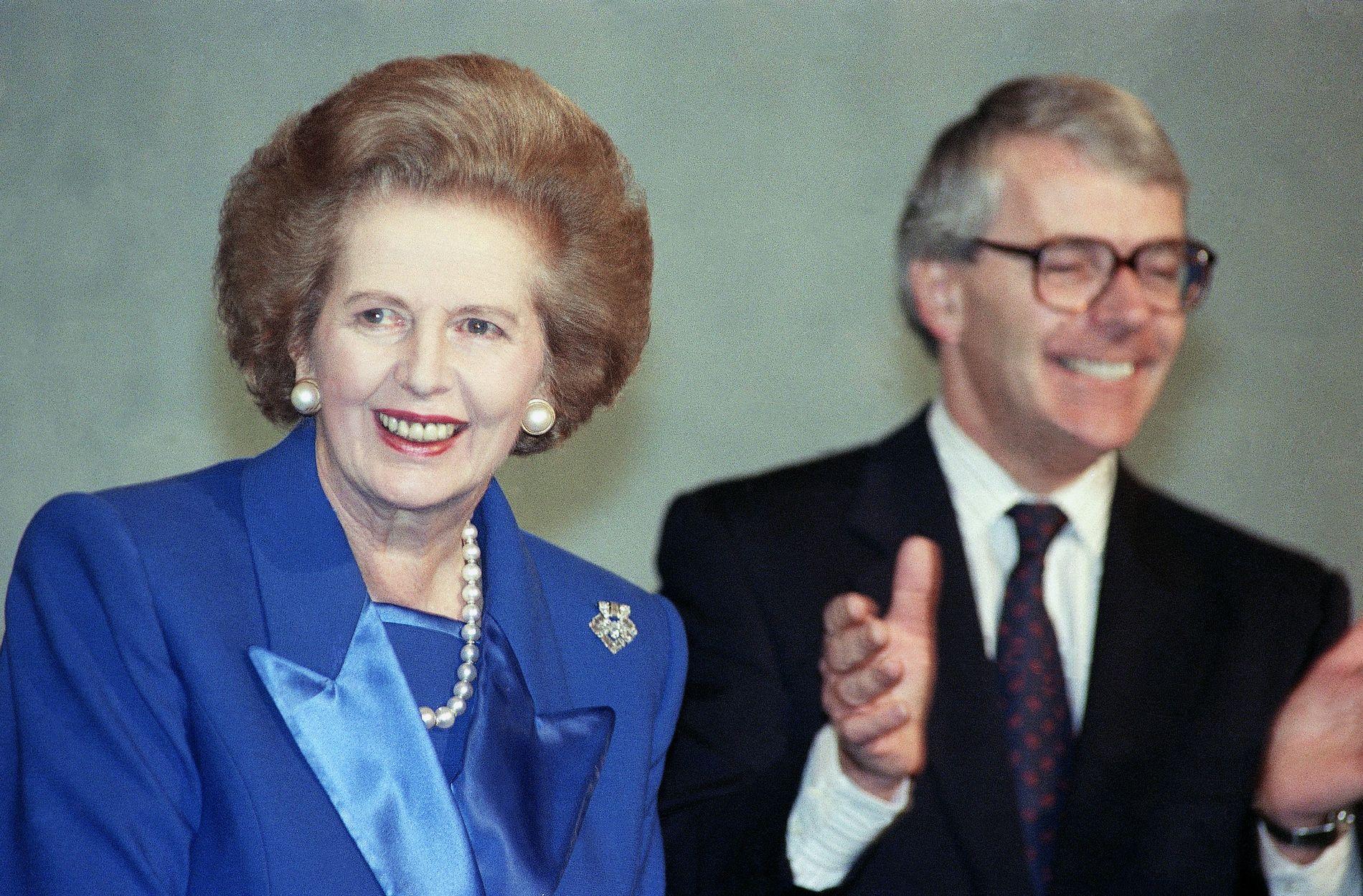 MEKTIG DUO: De tidligere statsministerene  Margaret Thatcher John Major fotografert i 1991.