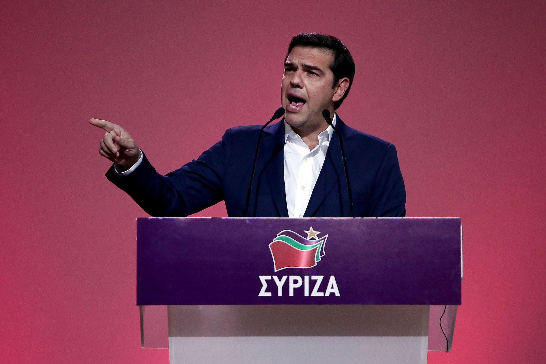 TALER: Statsminister Alexis Tsipras i Hellas taler til årsmøte i partiet Syriza i oktober i år.