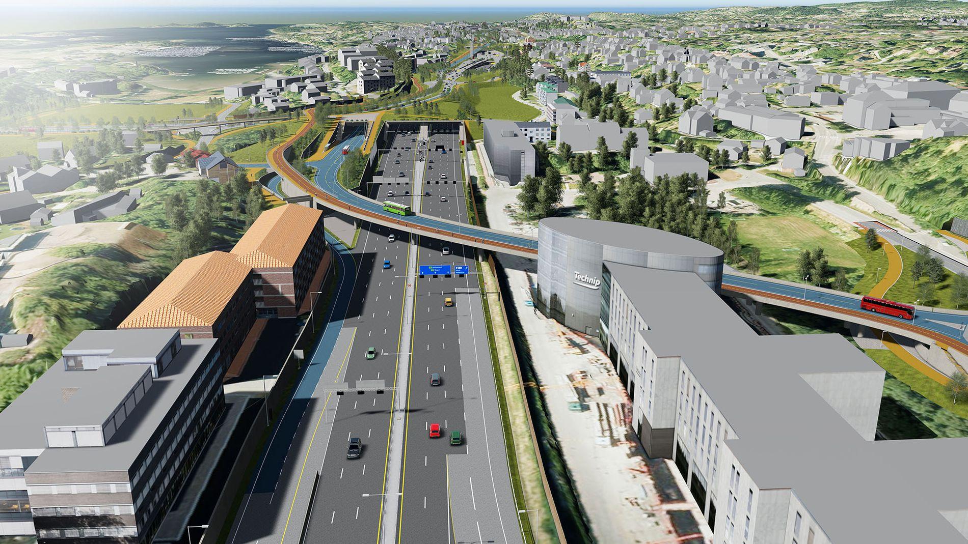 VESTKORRIDOREN: Slik er den nye E18 planlagt ved Lysaker. Tunnelen er Stabekklokket.