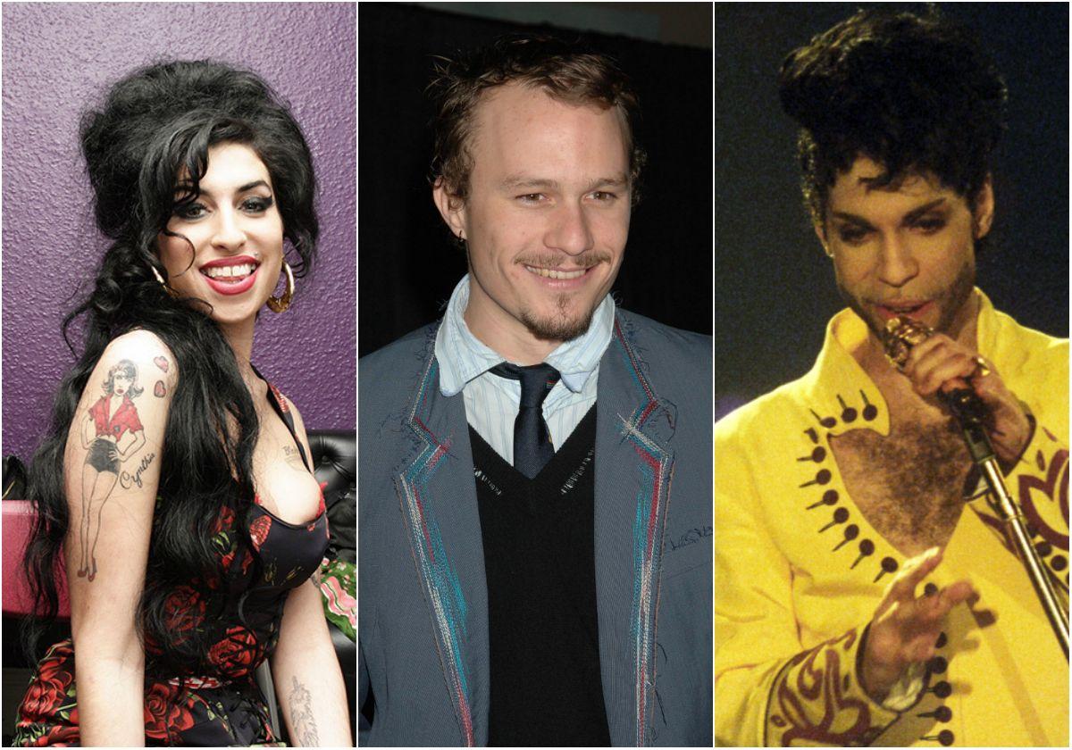 DØDE: Amy Winehouse, Heath Ledger og Prince er blant stjerne som har gått bort i nyere tid.