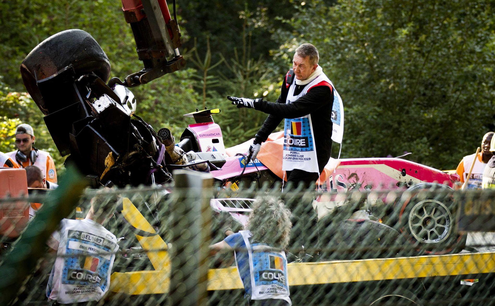 DØDSULYKKE: Slik så bilen til Anthoine Hubert ut etter krasjet.