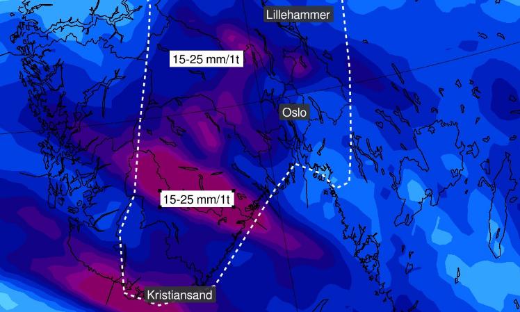 TUNGT REGN: Uvanlig intens nedbør kan falle over Sør- og Østlandet mens uværet passerer fredag og lørdag.