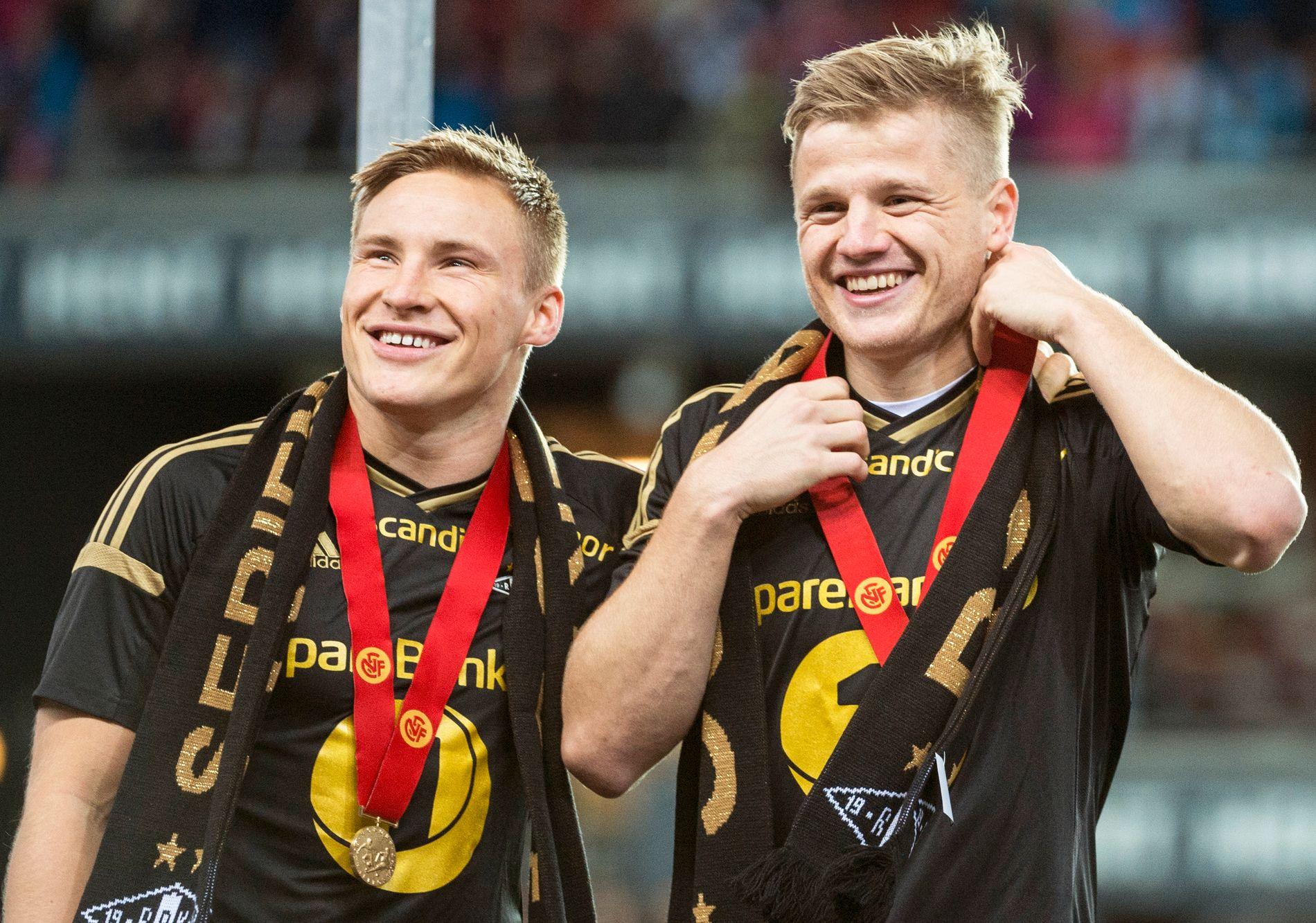 TRØNDERSUKSESS: Jonas Svensson (t.v.) og Fredrik Midtsjø vant pokaler med Rosenborg. Nå herjer de sammen for AZ Alkmaar i Nederland.