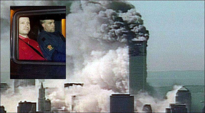DISKUTERTE TERROR ETTER 9/11: Anders Behring Breivik diskuterte mulighetene for terror i Europa etter angrepet på USA, 11. september 2001. Breivik mente også det var stor fare for borgerkrig i Europa som følge av innvandring. Foto: AP og Gøran Bohlin/VG