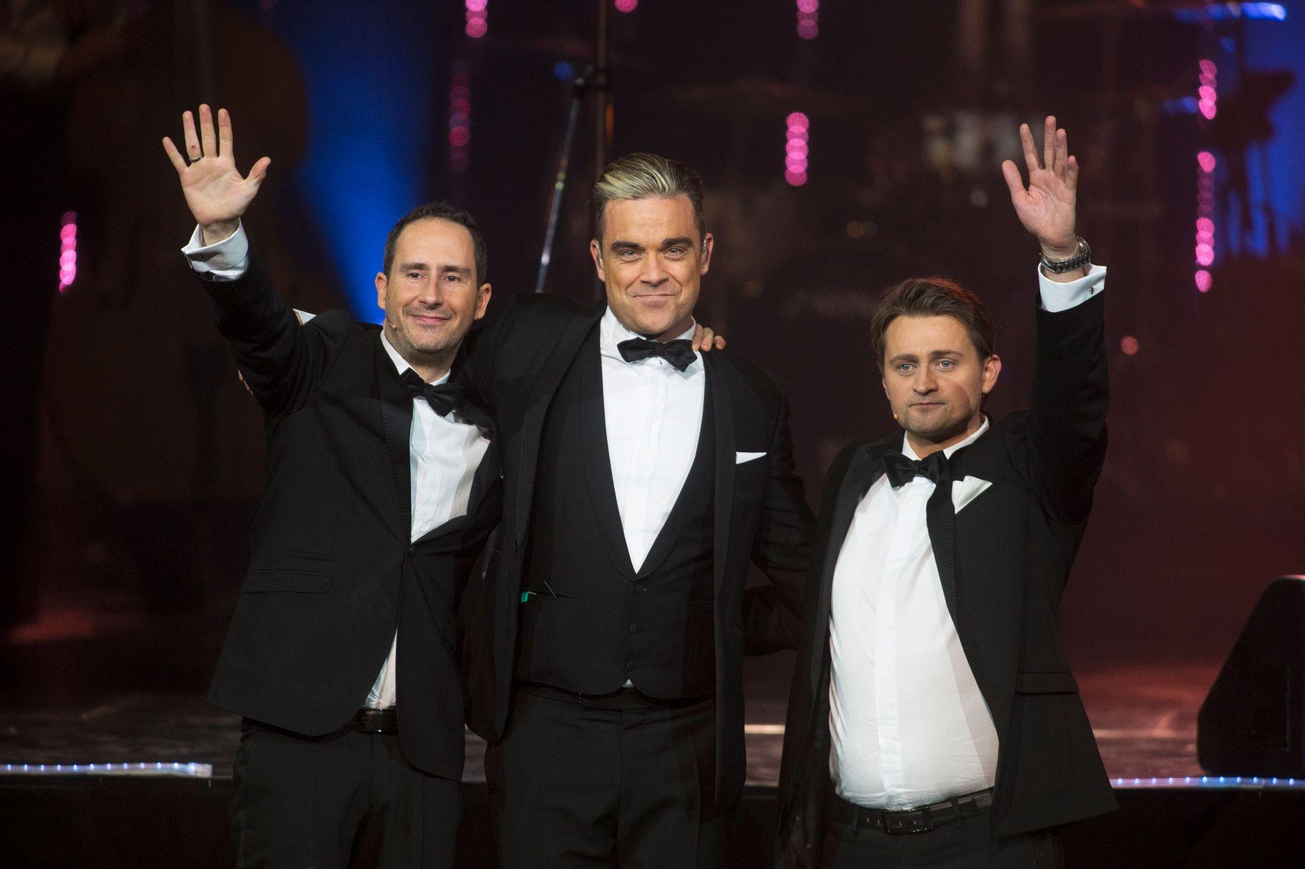 HØYDEPUNKT: Robbie Williams var den første internasjonale superstjernern som besøkte «Senkveld» i 2004. Han var også gjest på jubileumsshowet i 2013 (bildet).