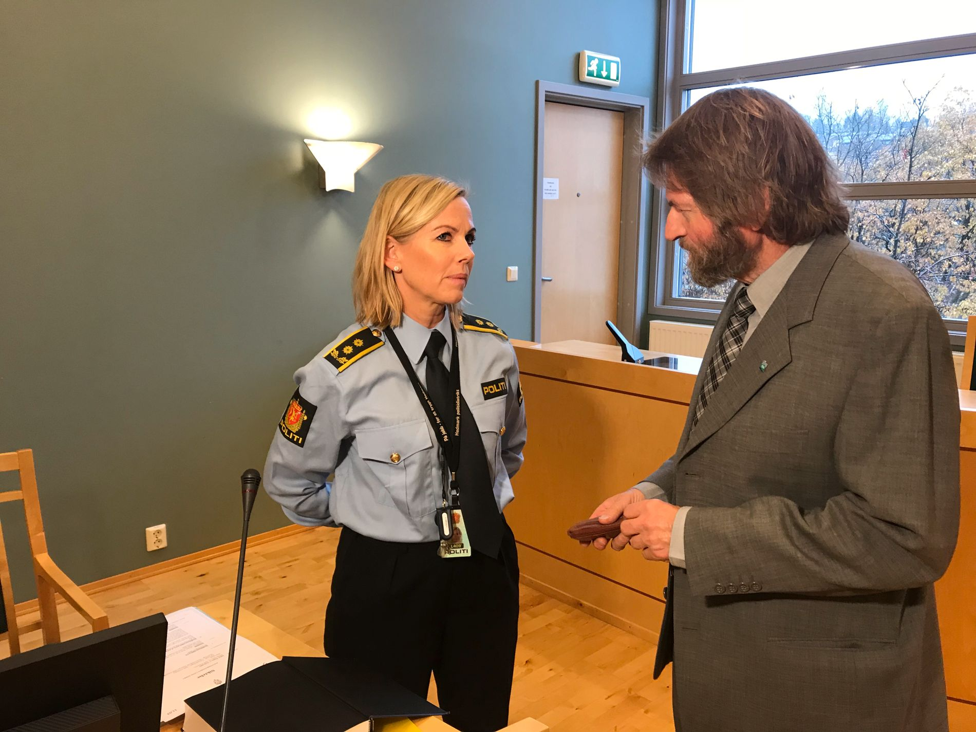 IN THE COURT: Police Chief Stine Grimstad and Defense Counsel Lorentz Stavrum before the jail term