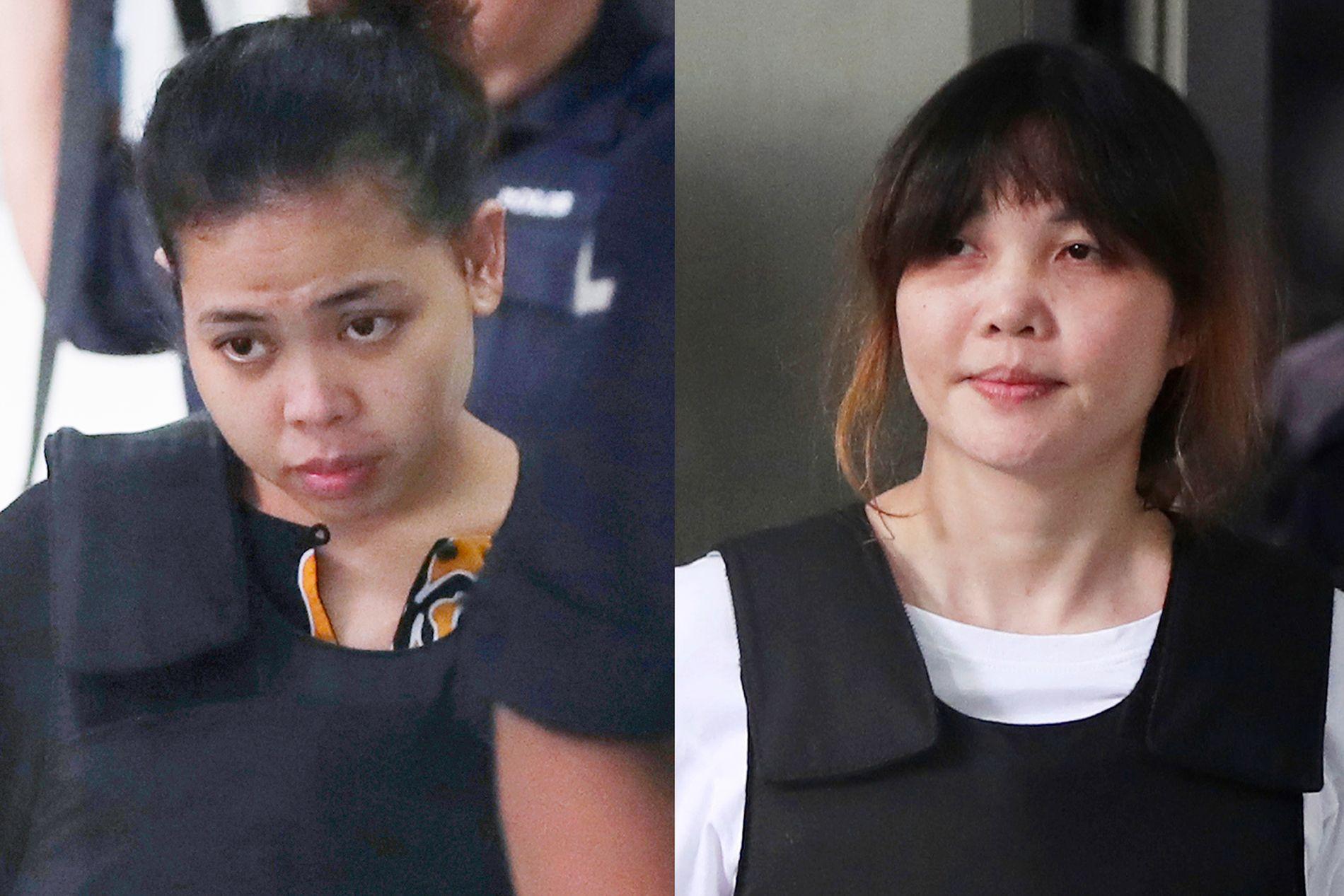 RISIKIERER DØDSSTRAFF: De to kvinnene, Siti Aisya (t.v.) og Doan Thi Huong står tiltalt for attentatet til Nord-Koreas leder Kim Jong-uns bror Kim Jong-nam.