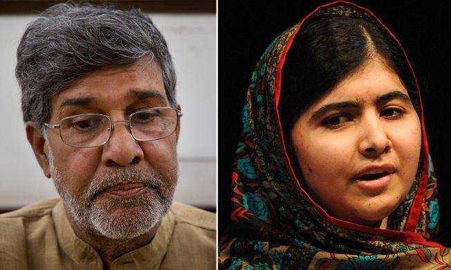 FREDSPRISVINNERNE: Kailash Satyarthi (t.v.) fra India og Malala Yousafzai fra Pakistan.