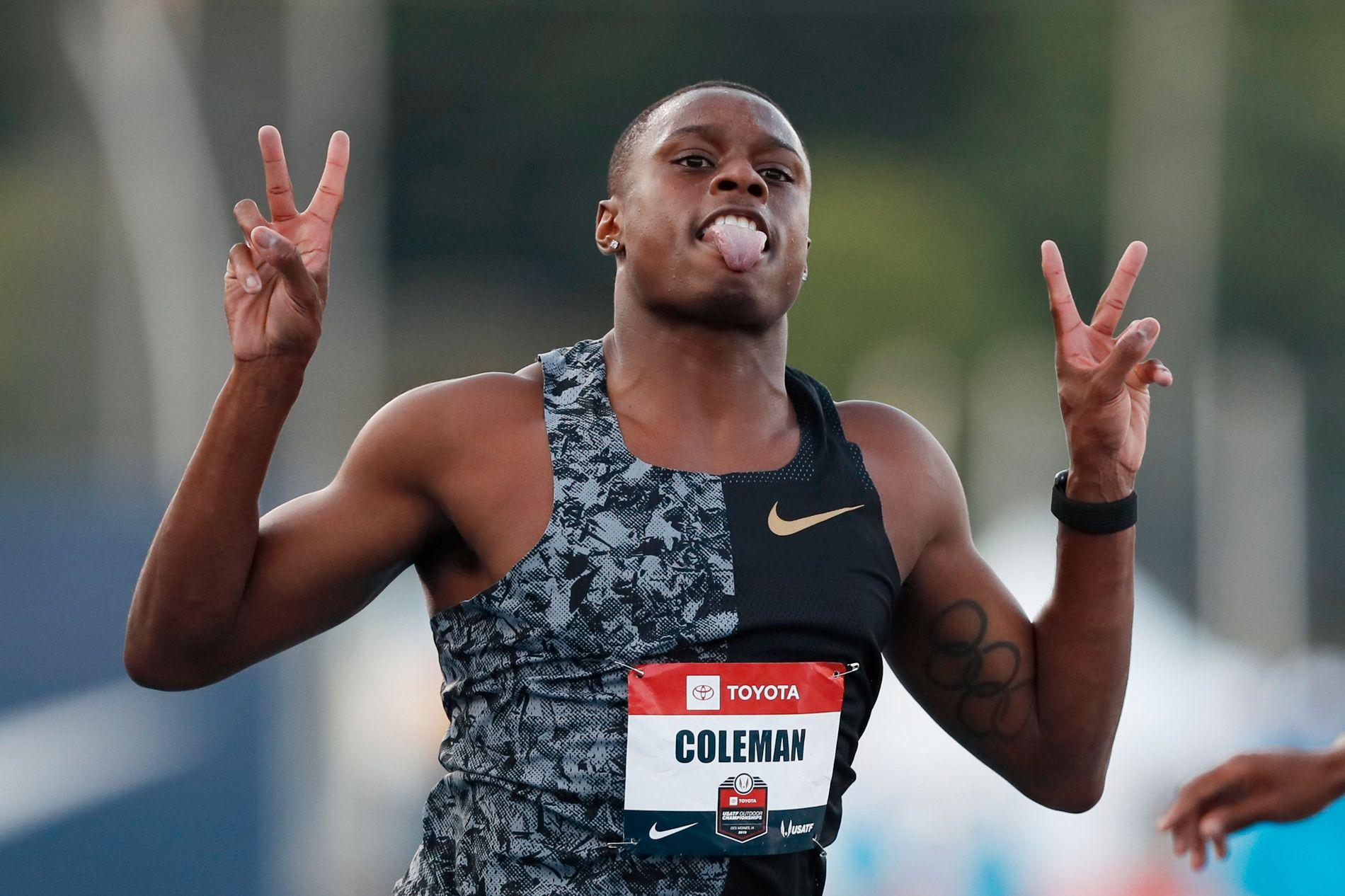 TROLIG VM-KLAR: Christian Coleman, som her feirer en seier i Iowa i juli, skal ifølge rapportene være klarert.