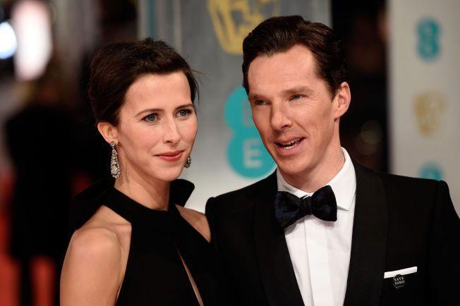 GIFT: Sophie Hunter og Benedict Cumberbatch ga hverandre sitt «ja» i en kirke i London lørdag. Her er de på EE British Academy Film Awards i London tidligere i februar.