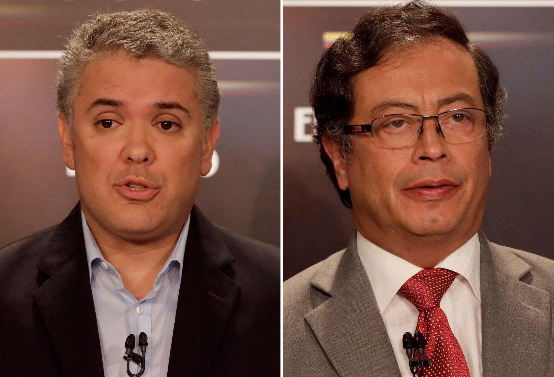 KJEMPER OM MAKTEN: Ivan Duque (t.v) og Gustavo Petro (t.h) er presidentkandidater når Colombia avholder valg på søndag.