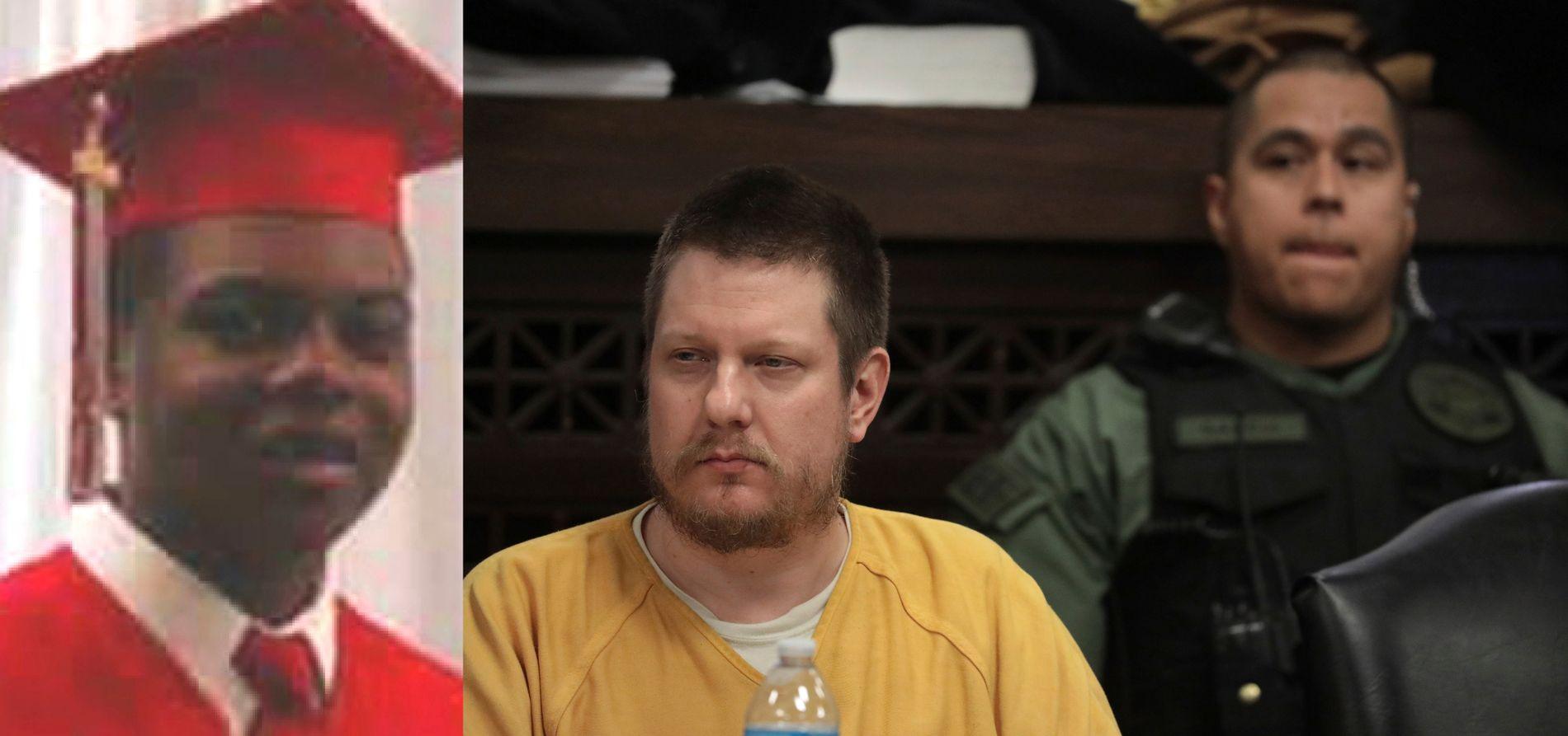 DØMT: Jason Van Dyke (i gul trøye) ble fredag dømt til fengsel for drapet på Laquan McDonald.
