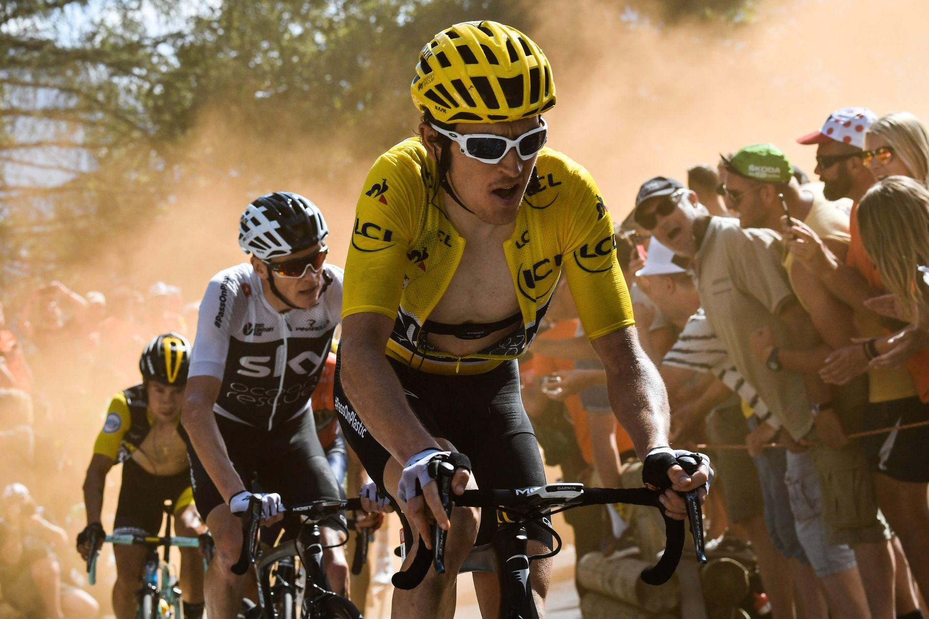 MOT SEIER: Geraint Thomas virker å bli den tredje Team Sky-rytteren som vinner Tour de France. Her er han under en fjelletappe i årets ritt.