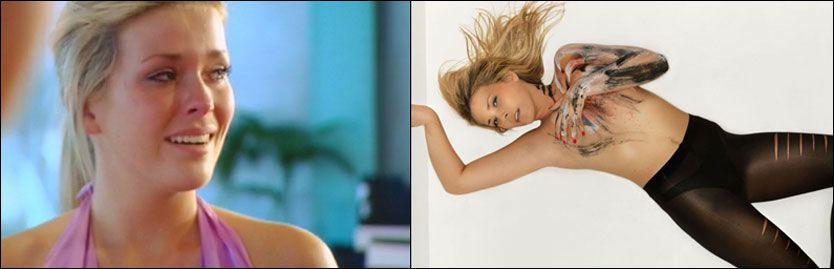 UT I KVELD: Eirin Hagstrøm (18) tok til tårene da hun ble sendt hjem fra «Top Model». Bildet til høyre er fra en tidligere episode, hvor Eirin fikk høre at hun så «FHM-chubby» ut. Foto: TV3