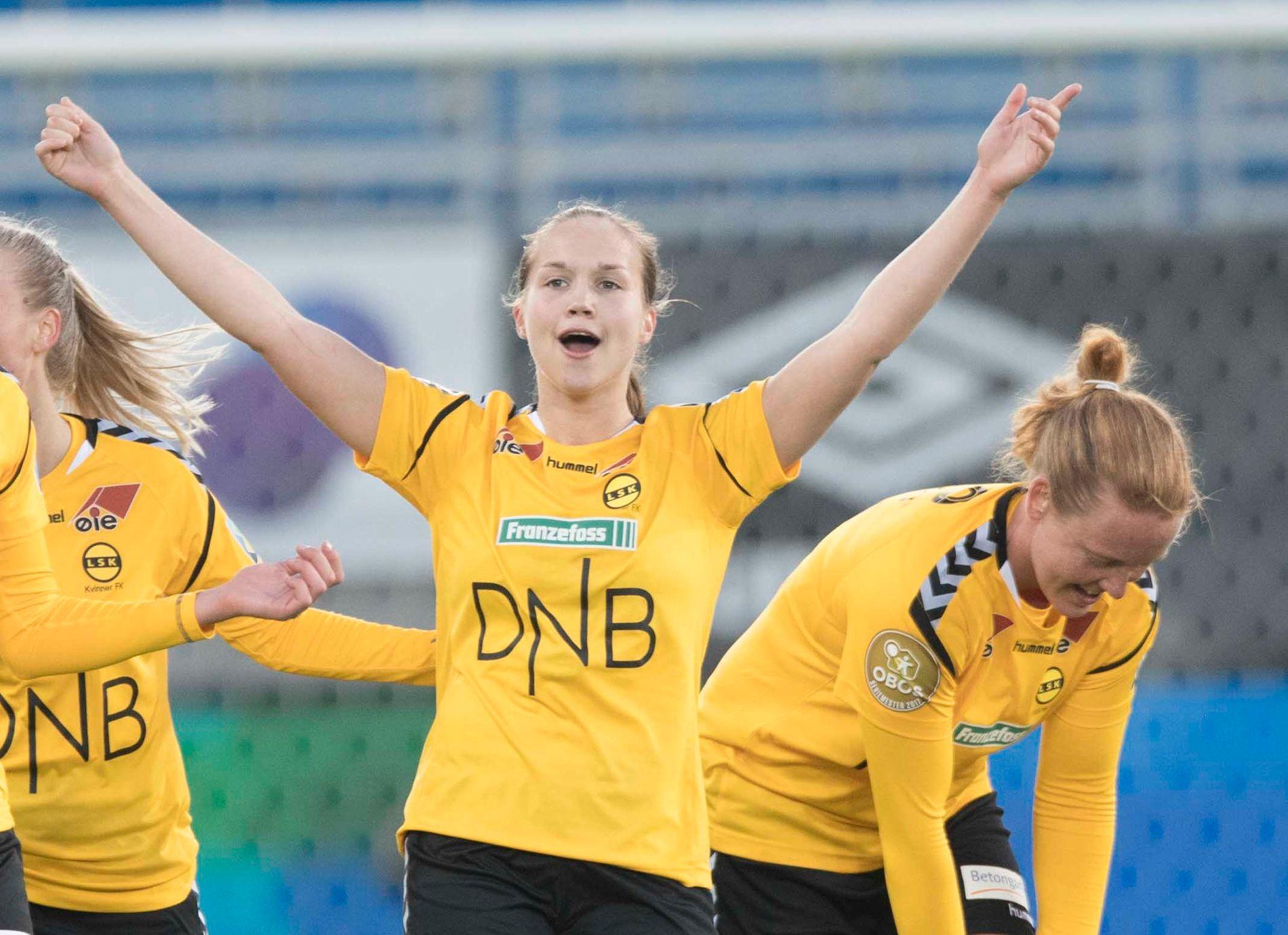 TRAFF PÅ DET MESTE: Guro Reiten, her fra sesongpremieren mot Vålerenga, scoret fire mål mot gamleklubben i dag.