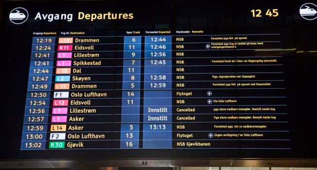 TRØBBEL: 26. mars 2015 var årets mest trøblete dag for norske togpassasjerer, med i alt 1212 loggførte forsinkelser eller innstillinger. Bildet er fra Oslo S den dagen.