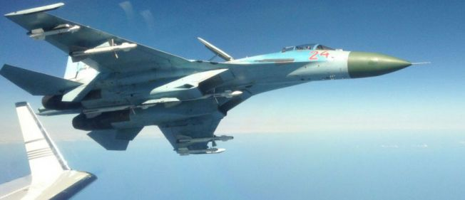 EN FLANKER PÅ FLANKEN: En  Su-27 fra det russiske luftforsvaret ble svært nærgående under svenskenes etterretningstoktet i Østersjøen.