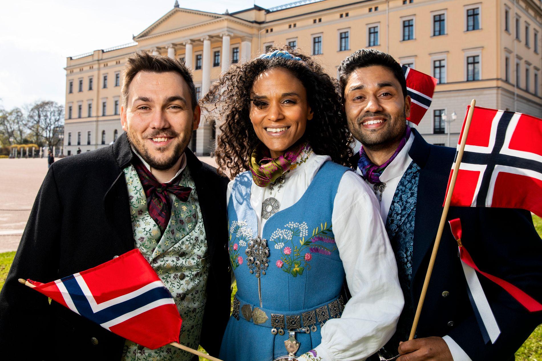 TO AV TRE STILLER: Dennis Vareide, Haddy N'jie og Noman Mubashir skulle opprinnelig lede TV-sendingen på NRK 17. mai.