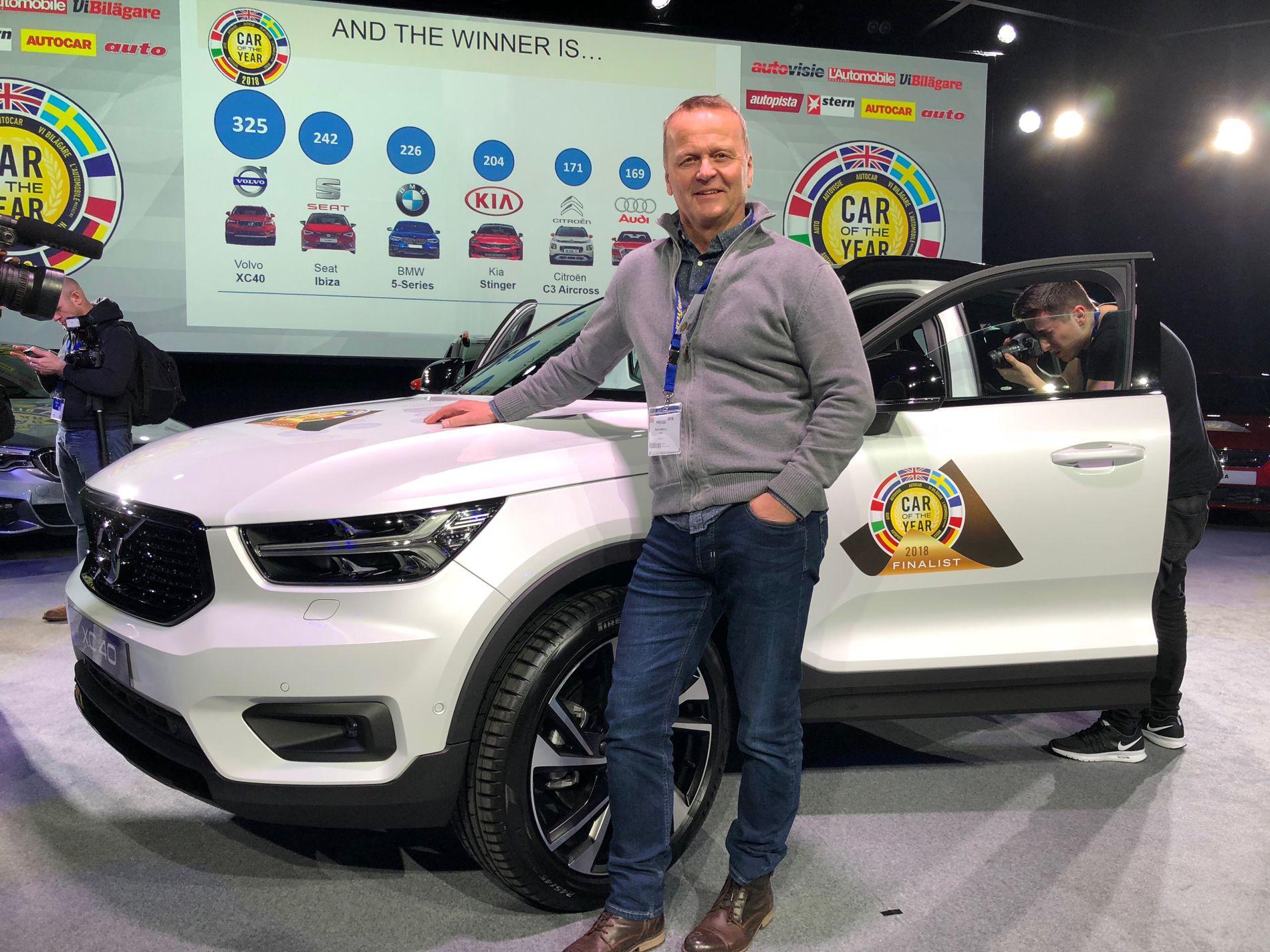 SVENSK UTKLASSING:  Det eneste norske jurymedlemmet, biljournalist Rune Korsvoll, hadde ikke problemer med å bestemme seg hvem han ville gi sine poeng til. Han ga flest av sine poeng (9) til Volvo XC40.