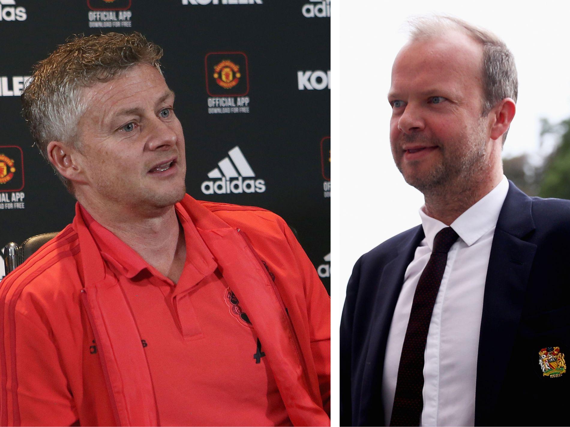 ED BESTEMMER: Ed Woodward (t.h.) er Manchester Uniteds direktør og mannen som har siste ord om hvem som blir fast manager til sommeren. Han har foreløpig ikke tatt opp temaet med Solskjær.