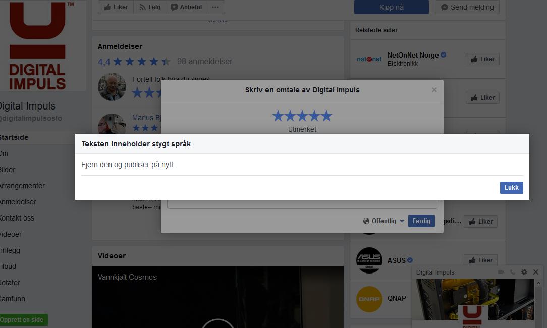 IKKE GODKJENT: Svein Danielsens forsøk på å skrive en hyggelig kommentar ble ikke oppfattet like positivt av Facebook.