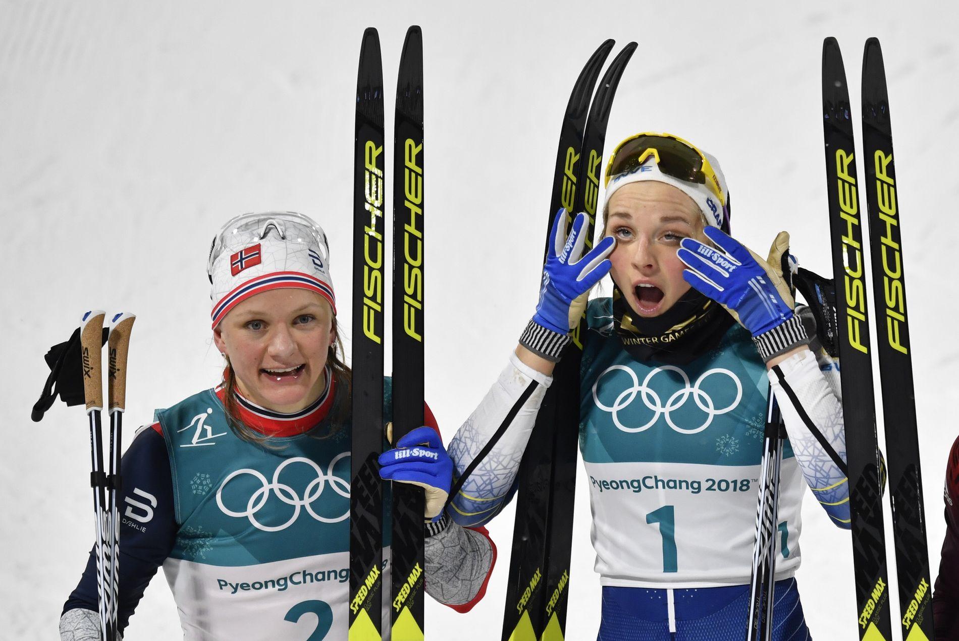DETTE BLIR DUELLEN: Maiken Caspersen Falla måtte gi tapt mot Stina Nilsson på den individuelle sprinten. Nå blir det en ny duell på lagsprinten mellom de to største sprintstjernene.