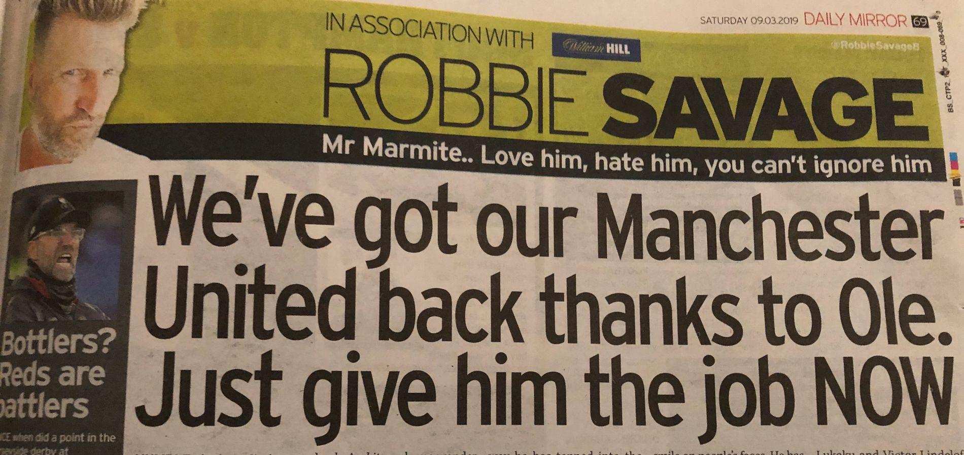 ANSETT NÅ: Det mener Robbie Savage i Mirror.
