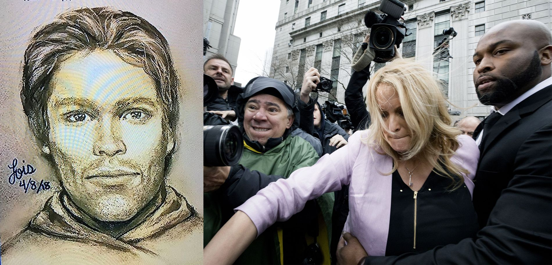 FANTOMTEGNING: Pornoskuespilleren Stormy Daniels offentliggjorde tirsdag en tegning av mannen hun hevder truet henne i 2011.