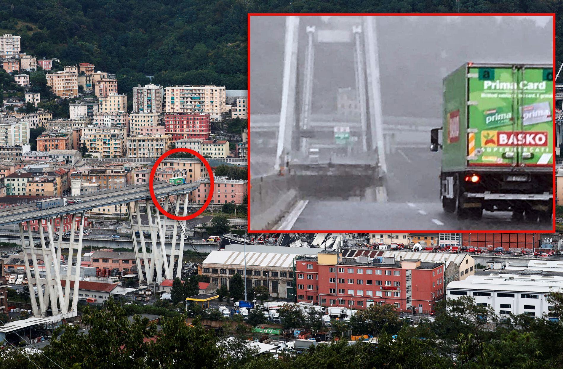 ENGLEVAKT: Det var ikke mange meter som skilte fronten på den lastebilen og delen av broen som kollapset.