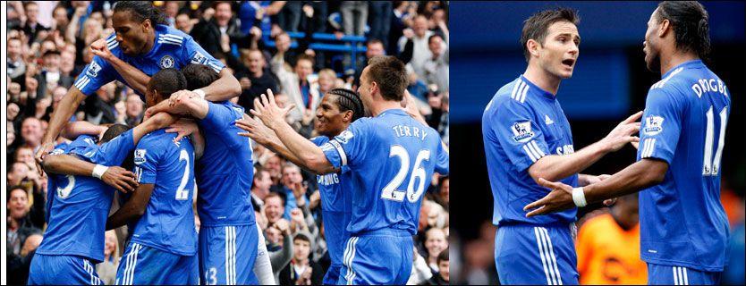 MESTERLIG: Chelsea-spillerne feirer scoring til venstre, mens Frank Lampard til høyre «trøster» Didier Drogba etter å ha tatt den første straffen. Foto: AP
