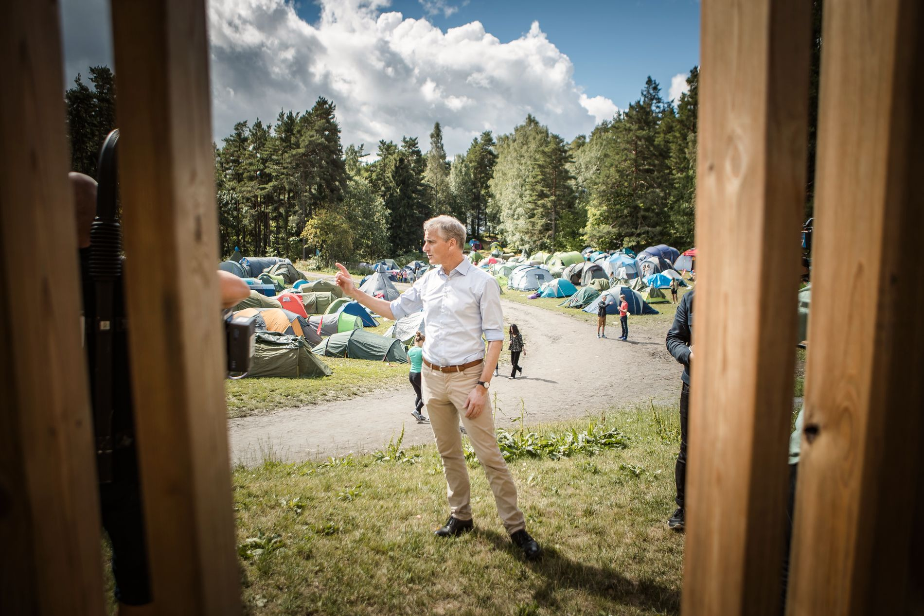 Jonas Gahr Støre holder tale på Utøya 4. august. AUF sin sommerleir. Foto: Odin Jæger, VG