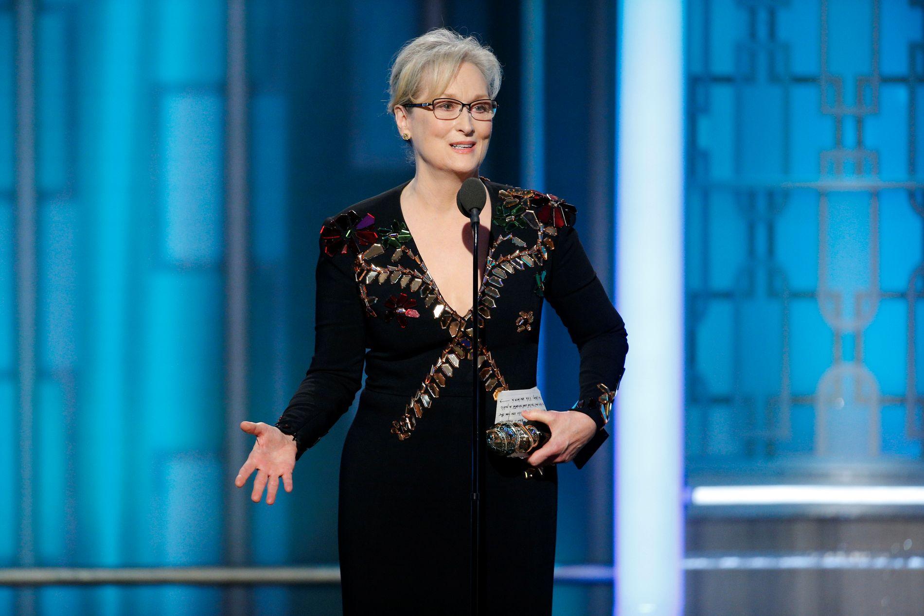 HEDERSPRIS: Meryl Streep mottok æresprisen Cecil B. DeMille Award og benyttet anledningen til å sparke mot Donald Trump.