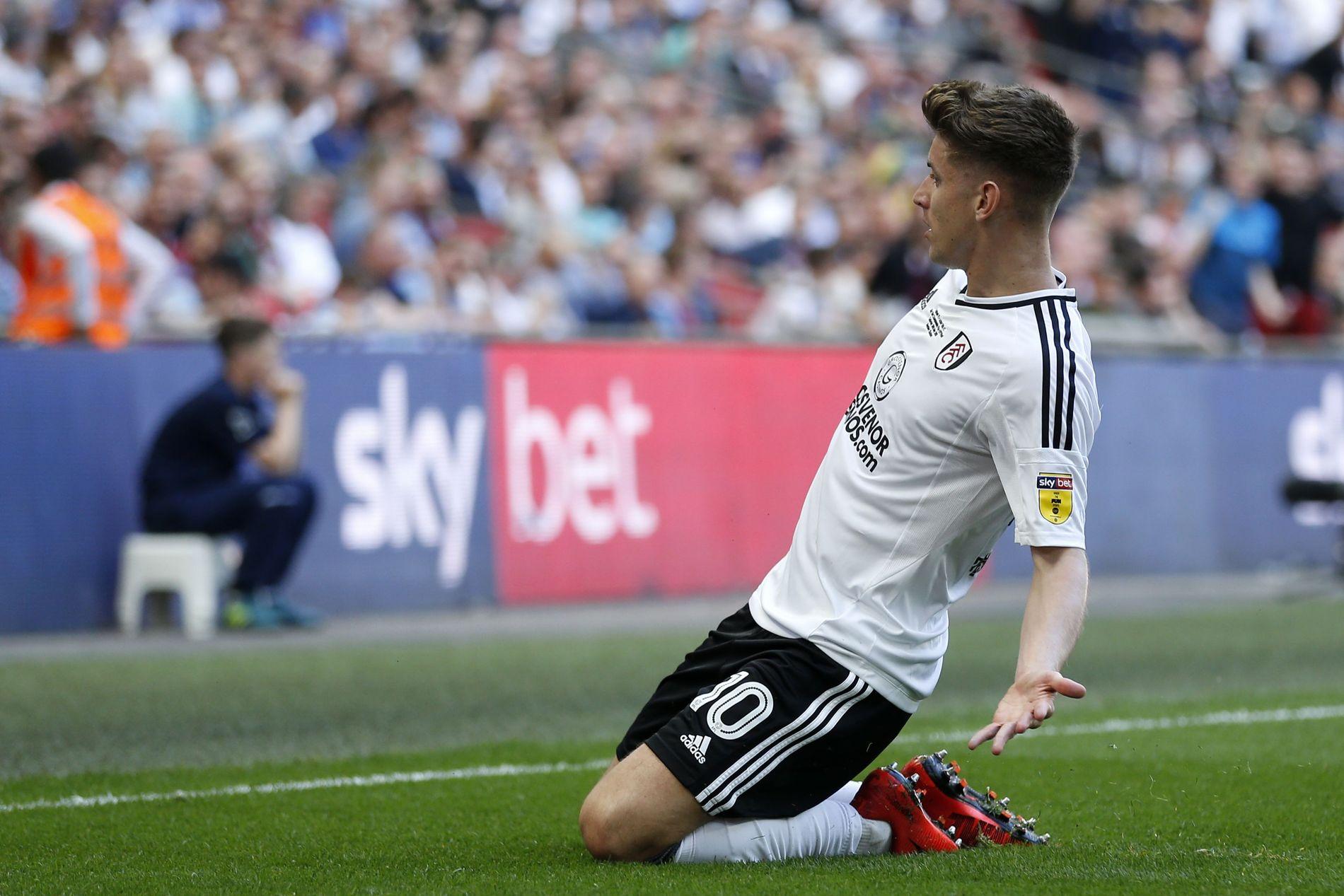 TO-MILLIARDER-FEIRINGA: Her har akkurat Tom Cairney satt inn scoringen som sendte Fulham til Premier League. Smågod følelse det vel?