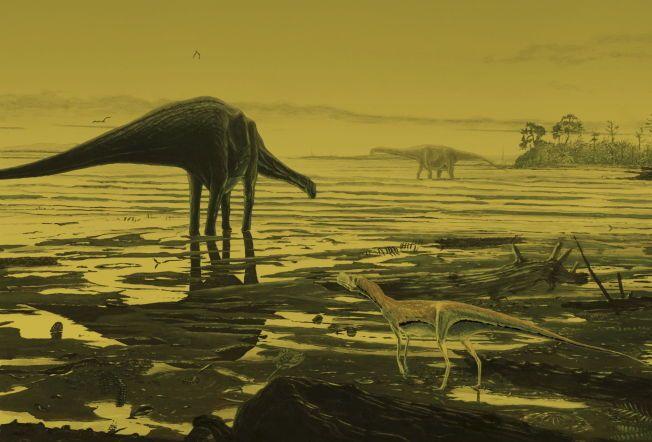 SLIK KAN DE HA LEVD: Her er en kunstnerisk gjengivelse av slik forskerne ser ut til at de gigantiske skapningene levde for mer enn 170 millioner år siden, ikke så altfor langt fra norskekysten.