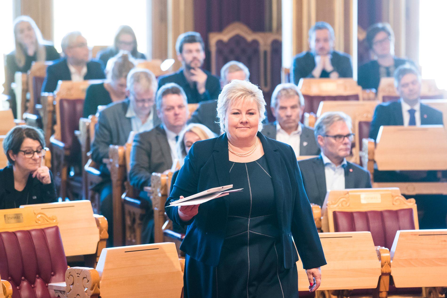KARBON-SVAR: 18. oktober var statsminister Erna Solberg (H) i Stortinget og svarte på spørsmål i spontanspørretimen – blant annet om karbonfangst og lagring,
