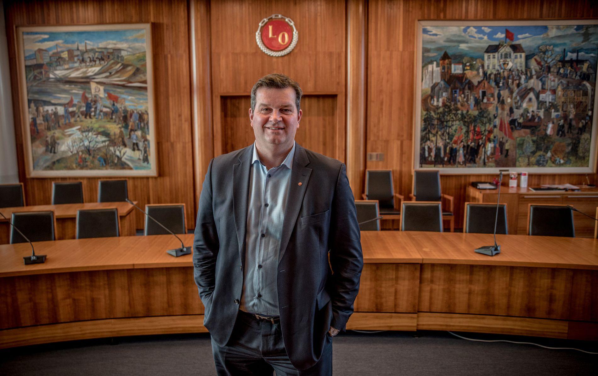 LO-GERD-ARVTAGER: Hans Christian Gabrielsen i sekretariatsalen i toppetasjen i Folkets Hus på Youngstorget.