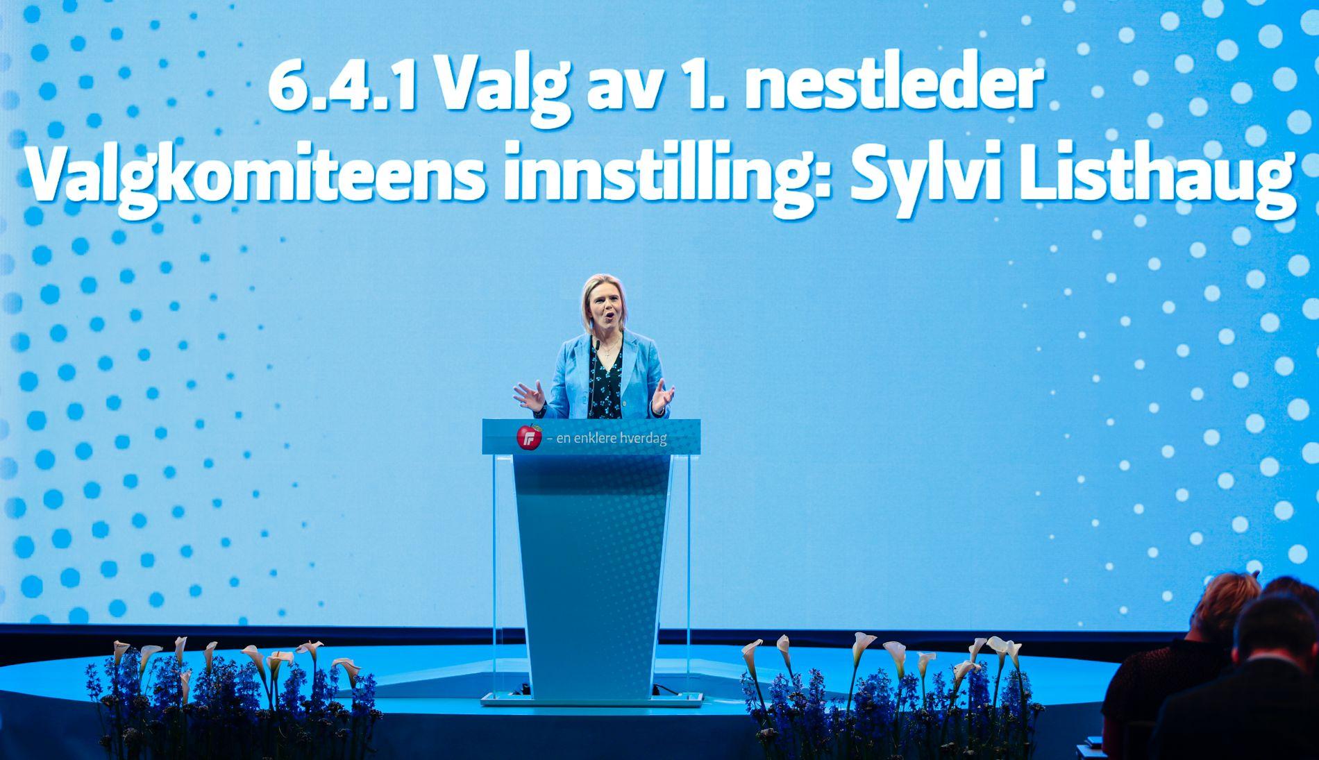 GIKK IMOT: Redaksjonskomiteen ledet av Sylvi Listhaug ville ikke støtte forslaget om å stoppe vindmølleutbygging på land.
