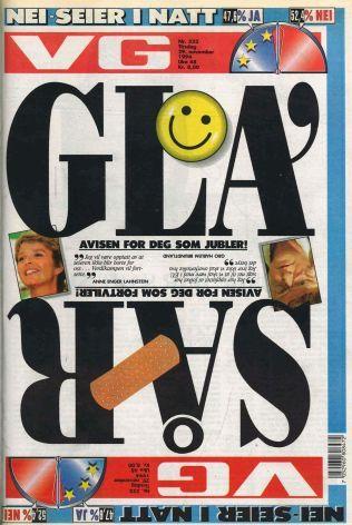 DELT: Fronten av VG tirsdag 29. november 1994 - dagen etter EU-valget
