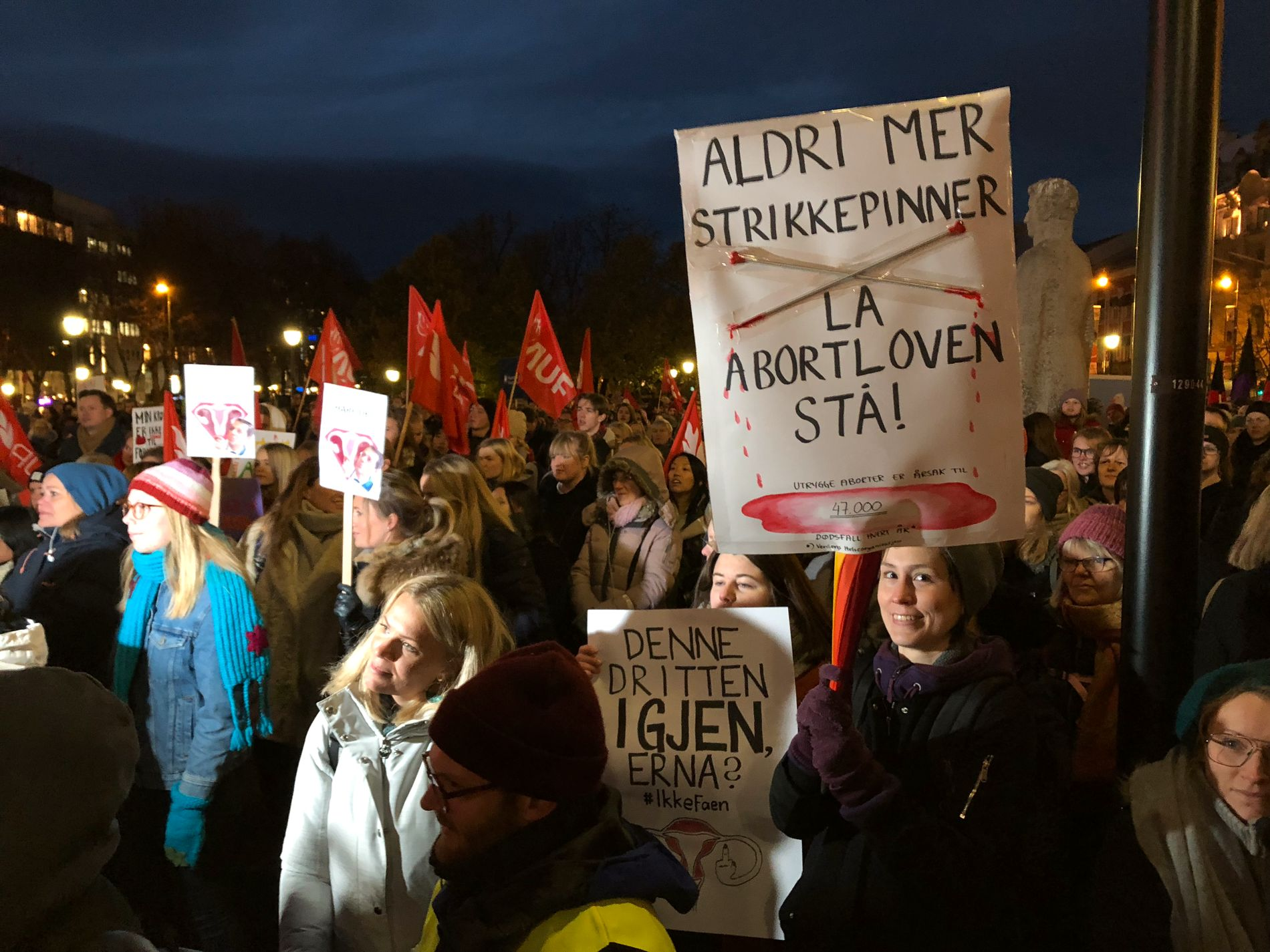 OVER 2000 demonstranter: Eidsvoll plass var full av demonstranter mandag.