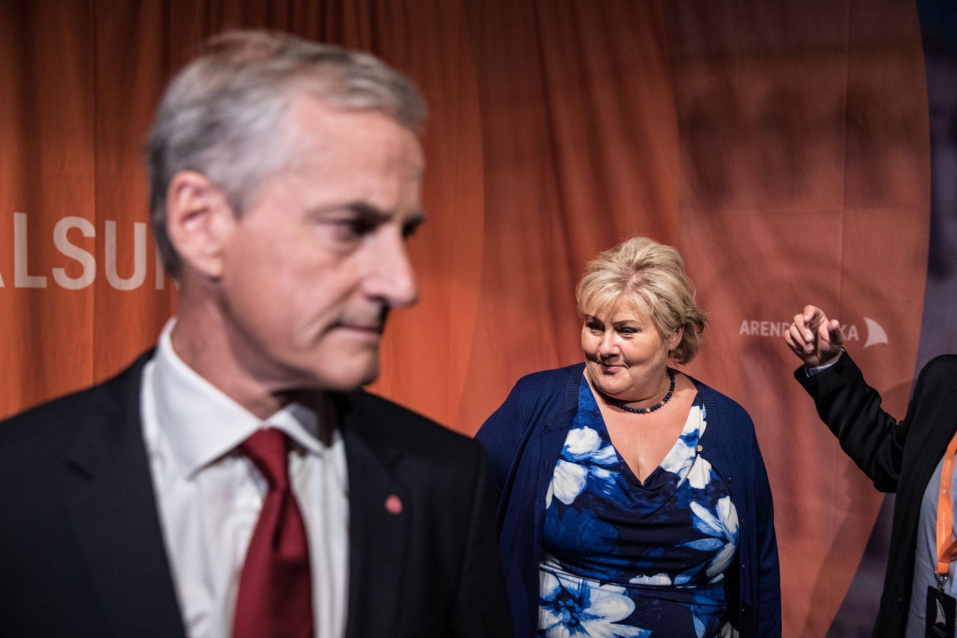 MOTBAKKE: Etter partilederdebatten under Arendalsuka gikk Støre seirende ut. Men gleden var kortvarig, skal vi tro de siste målingene.