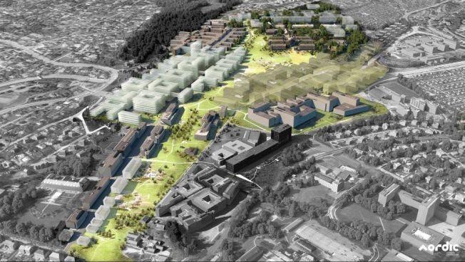 SAMLET: Her er Oslo Universitetssykehus samlet ved Rikshospitalet. Glassgaten forlenges og går over i det nye bygget. Rikshospitalet er bygningene til høyre for skogen øverst, midt i bildet. De nye byggene er de gråhvite byggene som ligger som en forlengelse midt i bildet. Helt bakerst er det planlagt psykiatribygg opp mot eksisterende Gaustad sykehus.